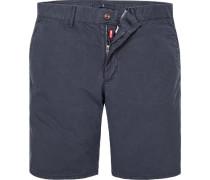 Herren Hose Bermudashorts Modern Fit Baumwolle navy blau
