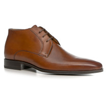 Herren Schuhe Schnürstiefeletten Kalbleder cognac braun