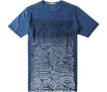 Herren T-Shirt Baumwolle Royal gemustert blau