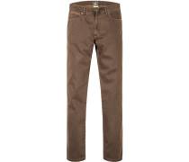 Herren Jeans, Modern Fit, Baumwoll-Stretch, braun