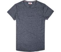 Herren T-Shirt, Baumwolle, navy meliert blau