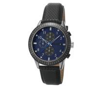 Herren Uhren Chronograph Edelstahl-Lederband