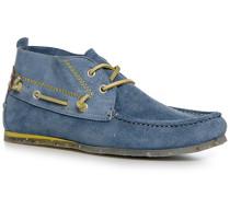 Herren Schuhe Stiefeletten, Veloursleder, capriblau