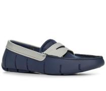Herren Schuhe Loafers Kautschuk-Mesh-Mix navy-hellgrau blau