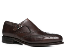 Herren Schuhe Monkstrap Leder glatt dunkelbraun