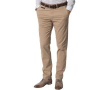 Herren Hose Chino Modern Fit Baumwolle beige