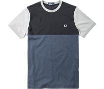 Herren T-Shirt Baumwolle blau gemustert