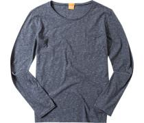 Herren T-Shirt Longsleeve Slim Fit Jersey dunkelgrau meliert