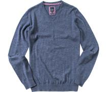 Herren V-Pullover Baumwolle navy meliert blau