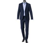 Herren Anzug, Regular Fit, Schurwoll-Stretch, dunkelblau kariert