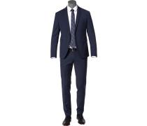 Herren Anzug Super Slim Schurwolle navy meliert blau