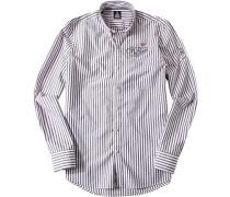 Herren Hemd, Baumwolle, weiß-grau gestreift