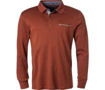 Herren Polo-Shirt, Baumwolle, rotbraun meliert