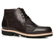 Herren Schuhe Schnürstiefelette, Kalbleder, dunkelbraun