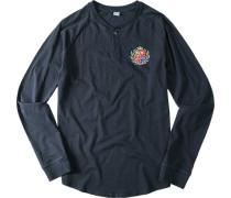Herren T-Shirt Longsleeve Aaron Baumwolle marineblau