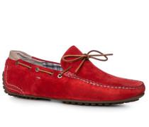 Herren Schuhe Mokassins, Veloursleder, rot