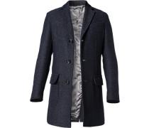Herren Mantel Wolle dunkelblau meliert