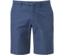 Herren Hose Shorts, Baumwolle, marine gemustert blau