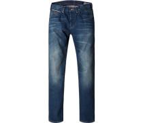 Herren Jeans Straight Fit Baumwolle indigo