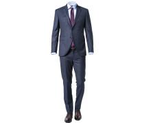 Herren Anzug, Slim Fit, Wolle, navy kariert blau
