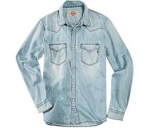 Herren Hemd Baumwolle hellbau blau