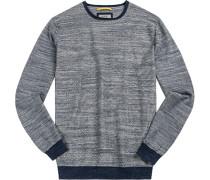 Herren Pullover Baumwolle crème-jeansblau gemustert beige