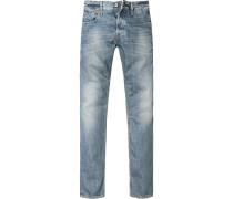 Herren Jeans Slim Fit Baumwolle 14 oz blau