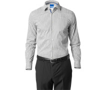 Herren Hemd Slim Fit Stretch-Popeline grau-weiß gestreift