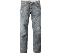 Herren Jeans Tapered Fit Baumwoll-Stretch grau