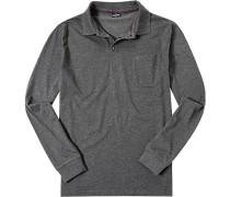 Herren Polo-Shirt Unterzieher Rollkragen Baumwoll-Mix anthrazit meliert grau