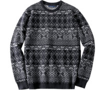 Herren Pullover, Lammwoll-Mix, nachtblau-grau gemustert