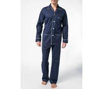 Herren Schlafanzug Pyjama Baumwolle nachtblau gemustert