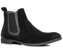 Herren Schuhe Chelsea Boots, Veloursleder, schwarz