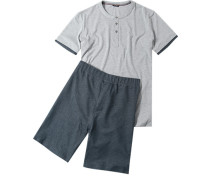 Herren Schlafanzug Pyjama Baumwoll-Mix grau-denim
