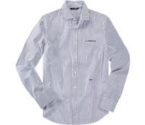 Herren Hemd Slim Fit Baumwolle weiß- blau gestreift