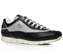 Herren Schuhe Sneaker Leder-Textil schwarz-weiß schwarz,weiß