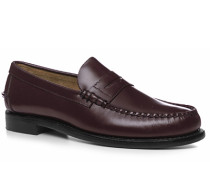 Herren Schuhe Loafer, Leder, bordeaux rot