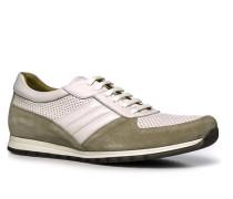 Herren Schuhe Sneaker Glatt-Veloursleder weiß-beige