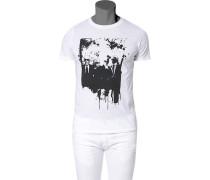 Herren T-Shirt, Baumwolle, weiß-schwarz