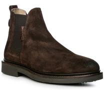 Herren Schuhe Chelsea-Boots, Veloursleder geölt, dunkelbraun