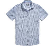 Herren Hemd Slim Fit Popeline schwarz-bleu gemustert blau
