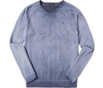 Herren Pullover Baumwolle blau-grau meliert beige