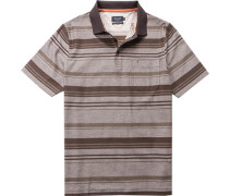 Herren Polo-Shirt Baumwolle mercerisiert braun gestreift
