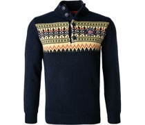 Pullover Troyer Wolle navy gemustert