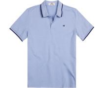 Herren Polo-Shirt, Regular Fit, Baumwoll-Piqué, hellblau meliert