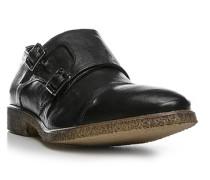 Herren Schuhe Doppelmonkstraps, Glattleder, schwarz