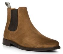 Herren Schuhe Chelsea Boots Veloursleder caramel braun