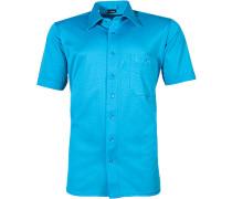 Herren Kurzarm-Hemd Baumwoll-Mix türkis blau