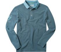 Herren Polo-Shirt Baumwoll-Piqué petrol meliert blau