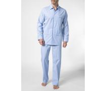 Herren Schlafanzug Pyjama Baumwolle hellblau-weiß gestreift